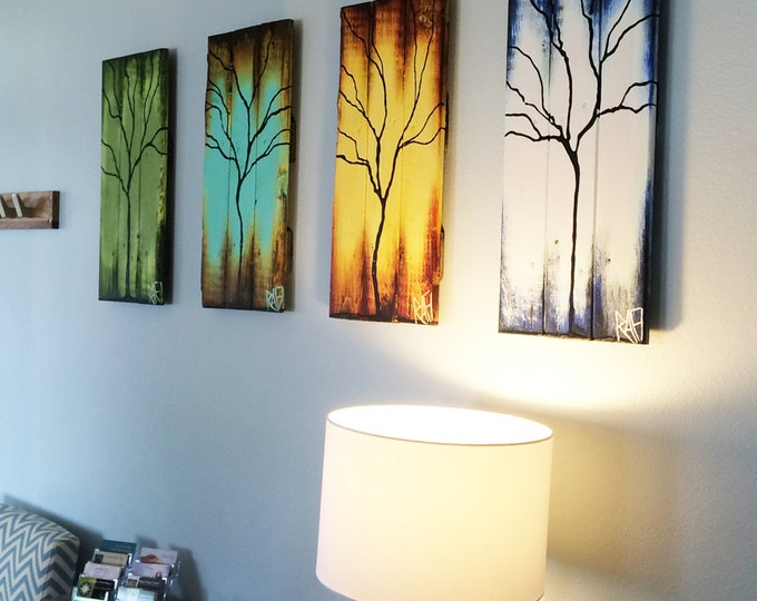 """Featured listing image: Four Seasons of Change Tree Paintings on Reclaimed Wood 48"""" ft Large 4 Piece By Artist Rafi Perez"""