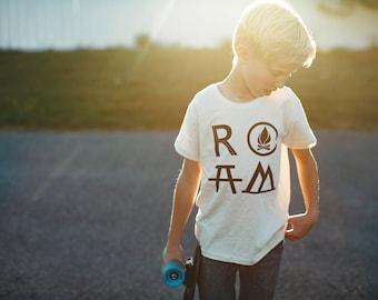 Organic Cotton Wanderlust Tshirt Gift for Kids, ROAM Camping Hiking Shirt, Girls or Boys Clothing, Unisex Youth Toddler Kids Shirt