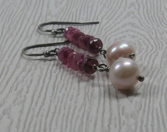 Pink Pearl Earrings Tourmaline Gemstone Stack Long Oxidized Sterling Silver Gift for Mom