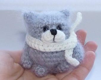 Gray wolf Amigurumi wolf Crochet wolf Miniature wolf Cute wolf Tiny wolf Toy funny animal Small toy Little wolf