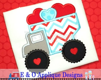 Dump Truck Valentine Digital Applique - Valentine Applique Design - Valentine Embroidery Design - Dump Truck Applique - Valentine's Day