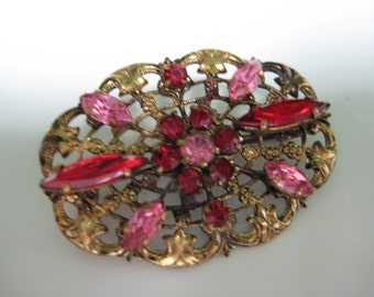 Vintage Austria Goldtone Brooch Pin, Pink Red Rhinestones, Vintage Jewelry, Vintage earrings, Reclaimed Jewelry, Eco Friendly, Jewelry Gift
