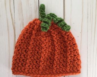 Newborn Pumpkin Hat, Crochet Pumpkin hat, Newborn Pumpkin Photo Prop, Fall Photo Prop, pumpkin photo prop hat, newborn halloween