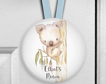 Koala bear nursery decor - boys bedroom decor - personalized door hangers - personalized baby shower gifts - HAN-PERS-30