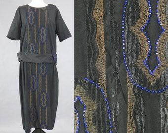Vintage 1920s Beaded Dress with Metallic Bullion Thread Work, 20s Flapper Dress, Jazz Age Dress, Betty Wales Dresses Medium