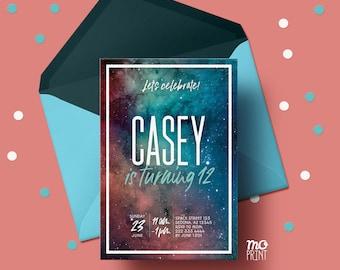 Nebula Birthday Invitation - Galaxy invitation - space invitation - teen birthday - tween galaxy  - 5x7 - printable digital file