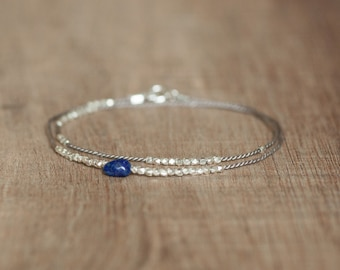 Delicate double wrap beaded bracelet pure silver and lapis bead boho