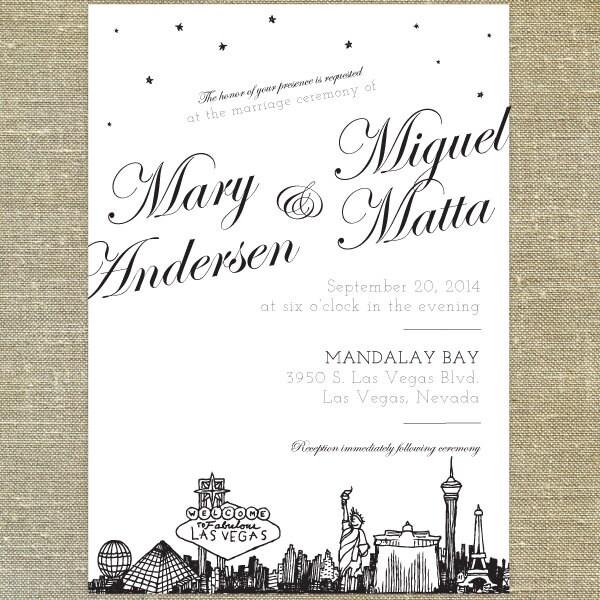 Las vegas skyline wedding invitation sample only zoom stopboris Choice Image