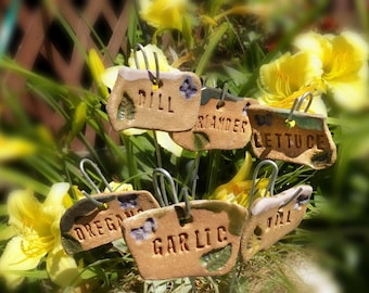 Ceramic plant markers - garden label, Garden Plant Markers - Herb stake , herb marker, vegetable marker, (6) plant markers your choose # 20