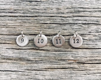 Personalized Tiny Silver Number Charm, Personalized Number Charm, Lucky Number Charm, Sports Number