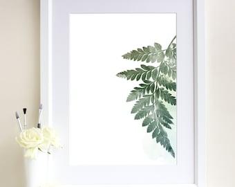 Fern Leaf Print, Watercolour Leaf Print, Botanical Print, Botanical Art, Giclee Art Print, Minimalist, Scandinavian Style