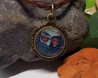 Jerry Garcia Necklace/ Grateful Dead Necklace/ DEad Head Gift/ Jerry Garcia Band/ Jerry Garcia Fan/ Grateful Dead JEwelry/ Grateful Dead Pin