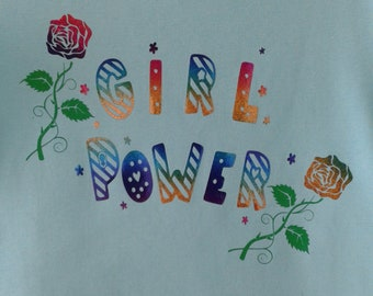 "Pretty girl t-shirt, blue turquoise size 140 ""Girl Power"""