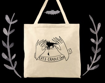 Cats Cradle Coven witchy woman cotton canvas tote