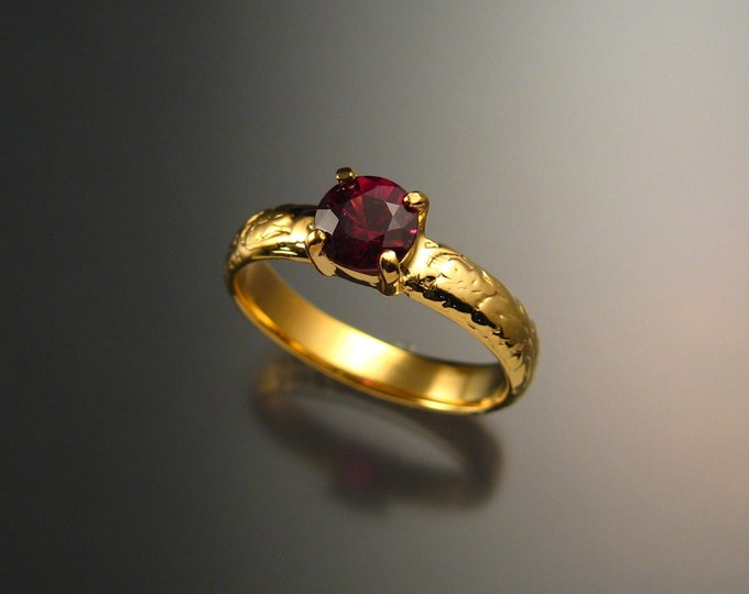 Garnet Natural Raspberry Rhodolite Wedding ring 14k Yellow Gold Ruby substitute ring made to order in your size