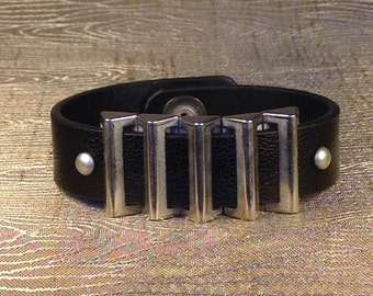 Upcycled belt cuff bracelet, leather bracelet, men's bracelet, cuff bracelet, black bracelet