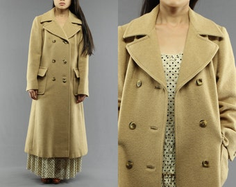 Camel Hair Double Breasted Lined Duster / Trench Coat Women's 80's Vintage