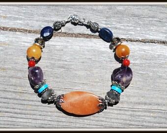 Red Orange Aventurine Bracelet, Mixed Stone Bracelet, Stone and Gems Bracelet, Colorful Mixed Bracelet, Colorful Mixed Stone Bracelet
