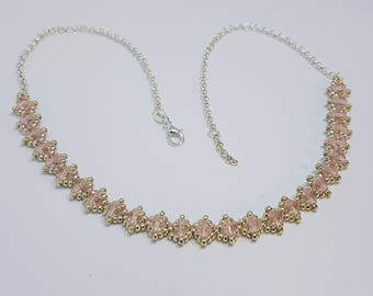 Silver Pink Necklace Crystals, Crystal Silver Necklace, Silver Jewelry, Special Occasion Jewelry, Pink and silver Necklace, Silver chain