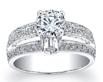 Ladies pave diamond engagement ring in 14kt white gold 0.66 ctw with 1ct Round white sapphire