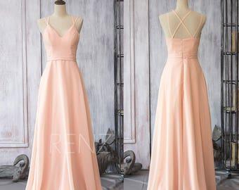 Bridesmaid Dress Peach Chiffon Dress,Wedding Dress,Criss Cross Strap Maxi Dress,V Neck A Line Prom Dress,Long Party Dress(F089)-Renzrags