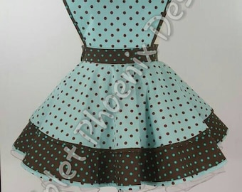 Polka-dot Teal/Brown Retro Pinup Apron