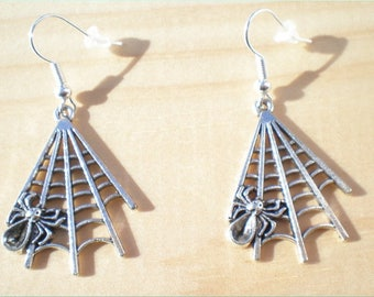 Spider Web Earrings, Halloween Earrings, Jewelry Findings
