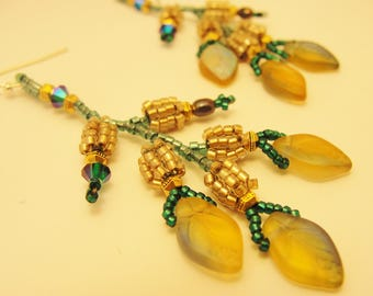 Beaded Green and Gold Leaf Earrings