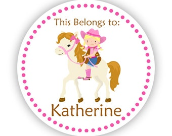 Personalized Name Tag Stickers - Pink Polka Dot, Cowgirl and Horse Name Label Tag Stickers - This Belongs To - Back to School Name Labels