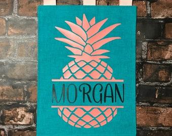 Aqua & Coral Pineapple Garden Flag