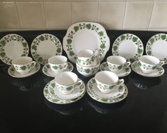 Crown Staffordshire Ivy pattern tea set 21 pieces, Christmas table