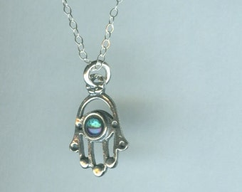 Sterling Hamsa with Aqua Aura Pendant and Chain - Evil Eye Protection