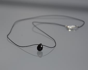 Choker necklace black braided silk string - pendant minimalist small briolette faceted black spinnelle stone - sterling silver ZOUX063