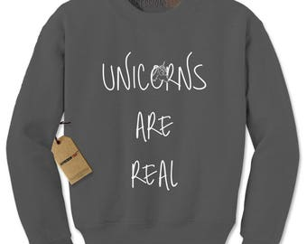 Unicorns Are Real Adult Crewneck Sweatshirt