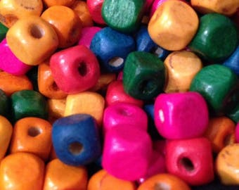 Set of 50 square wood beads