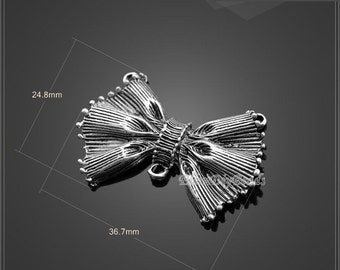 6 Pcs,Bowknot Antique Silver Charms,Bowknot Pendant,Tibetan Silver Tone Charms,filigree findings,Jewelry Findings,DIY Accessories--BF101