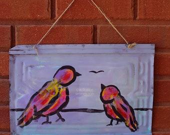 Two Birds, Painting, on Vintage Metal Shingle, Garden, Patio, Porch, Outdoor, Art, Original Painting, Winjimir, Home Decor, Wall Art, Gift,