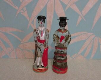 Vintage miniature Spanish Senorita Sangria, & Matador brandy bottle duo