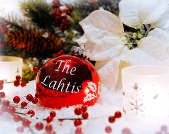 Red Christmas Ornament Personalized Print- You Choose Name(s) on the Ornament, Unique Holiday Gift,  Custom Holiday Decor