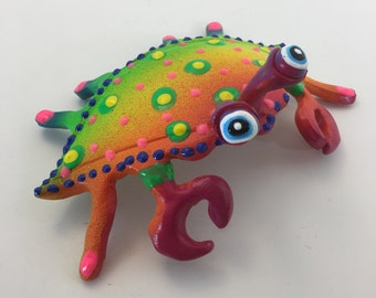 Whimsical wall hanging Crab, underwater fish room decor, fun wall art, colorful, whimsical, handmade fish art