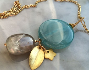 Sapphire and Blue Agate pendant with 14k Goldfill chain
