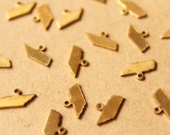 8 pc. Raw Brass Tennessee State Charms / Blanks: 12mm by 6.5mm - made in USA | RB-998