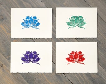 Lotus art, Colorful cards, Lotus flower cards, Gift for mom, Block printed cards, Handmade art cards, Set of 4 blank cards