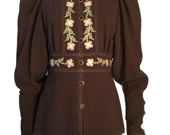Bill Gibb 1970s Vintage Peasant Embroidered Wool Blouse