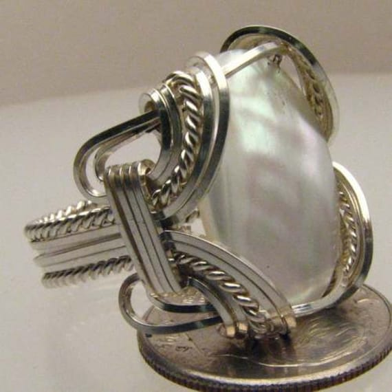 Handmade Solid Sterling Silver Wire Wrap Mother of Pearl Ring