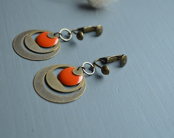 Bronze earrings clips orange sequin and ring flat and smooth brass creole style