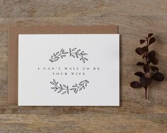 Ich kann nicht warten, Ihre Frau, Hochzeitskarte, Bräutigam, um meine zukünftigen Ehemann zu sein, ich kann nicht warten, um zu heiraten Sie, Tag Hochzeitskarte, Hochzeitskarten, K9