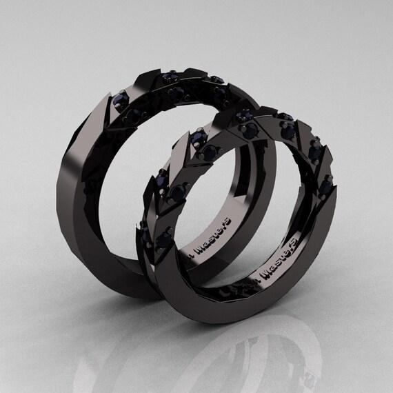Modern Italian 14k Black Gold Black Diamond Wedding Band Set