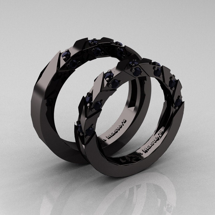 Modern Italian 14K Black Gold Black Diamond Wedding Band Set