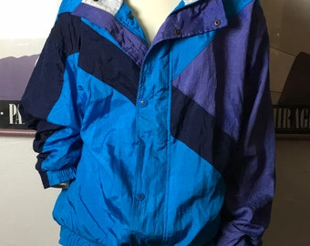Vintage Nylon CHRISTIAN DIOR  Windbreaker Jacket / Designer Christian DIOR Monsieur Jacket / Shades of Blue and Purple / Cotton Fully Lined